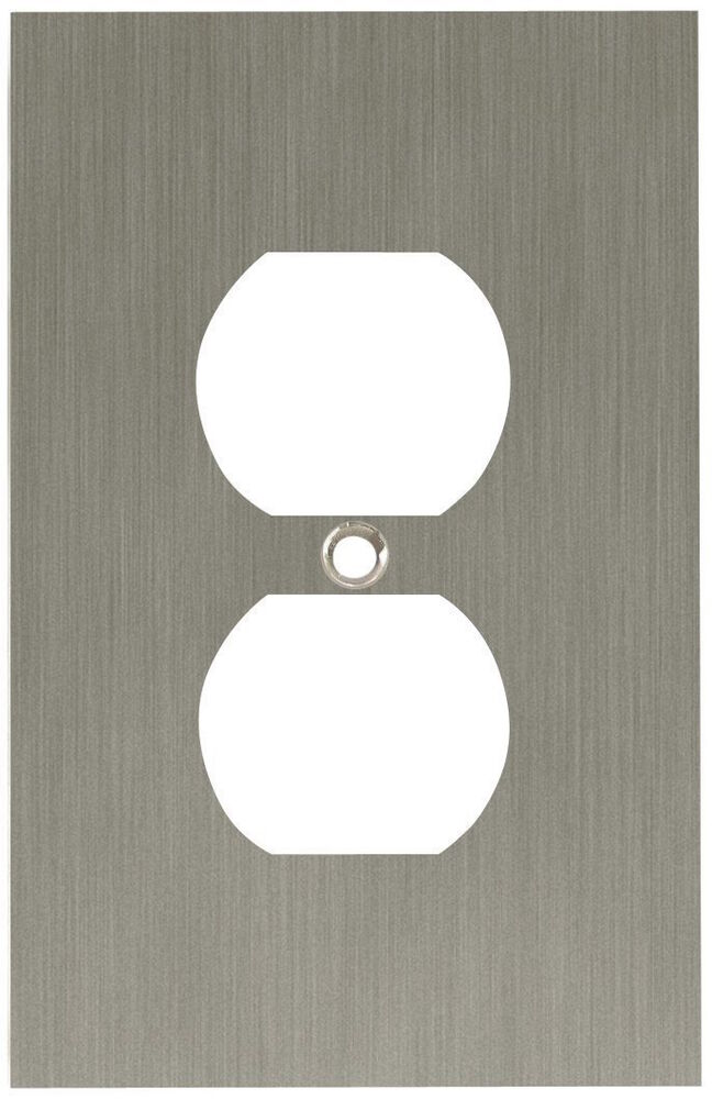 64930 brushed nickel concave single duplex cover wall plate ebay. Black Bedroom Furniture Sets. Home Design Ideas
