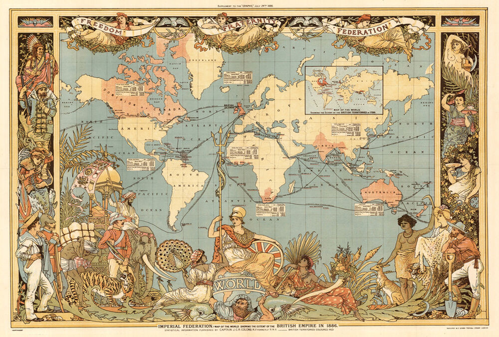 Vintage Old World Map British Empire 1800\'s CANVAS PRINT poster 16 ...