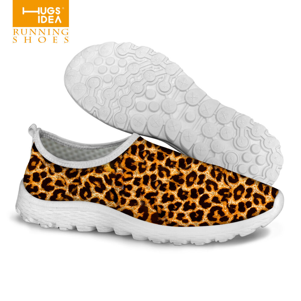 leopard print fashion running shoes slip on casual