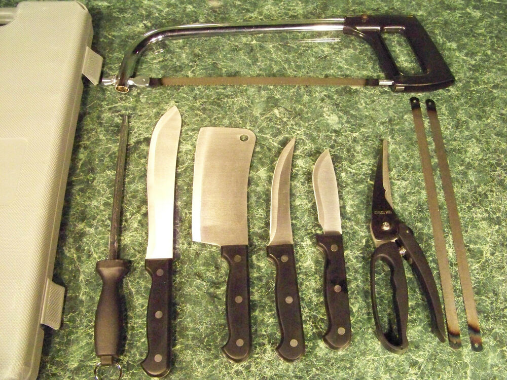 10pc Butcher S Knife Set With Meat Saw And Case Cleaver