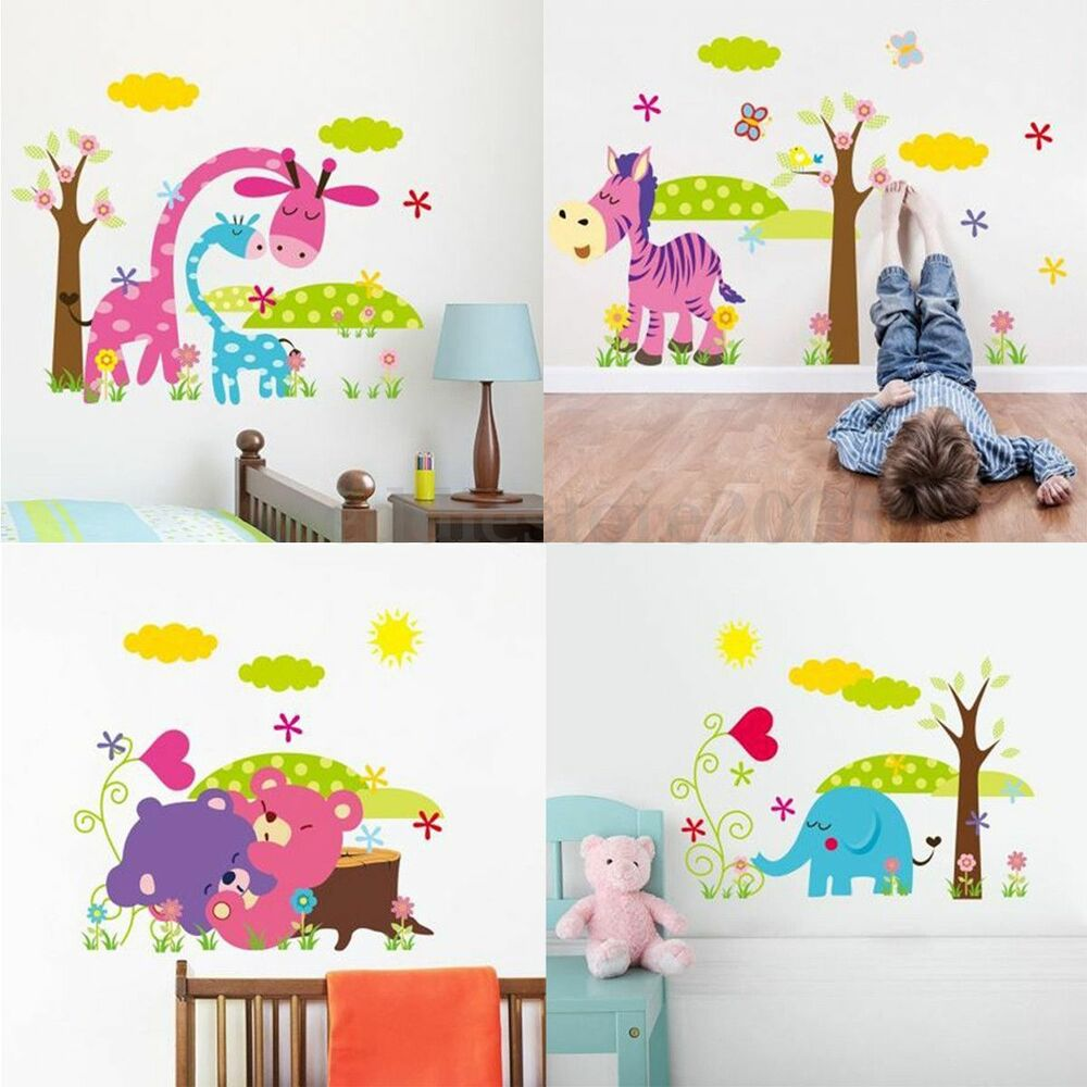 diy jungle animal removable wall sticker decal kid baby room nursery home decor ebay. Black Bedroom Furniture Sets. Home Design Ideas