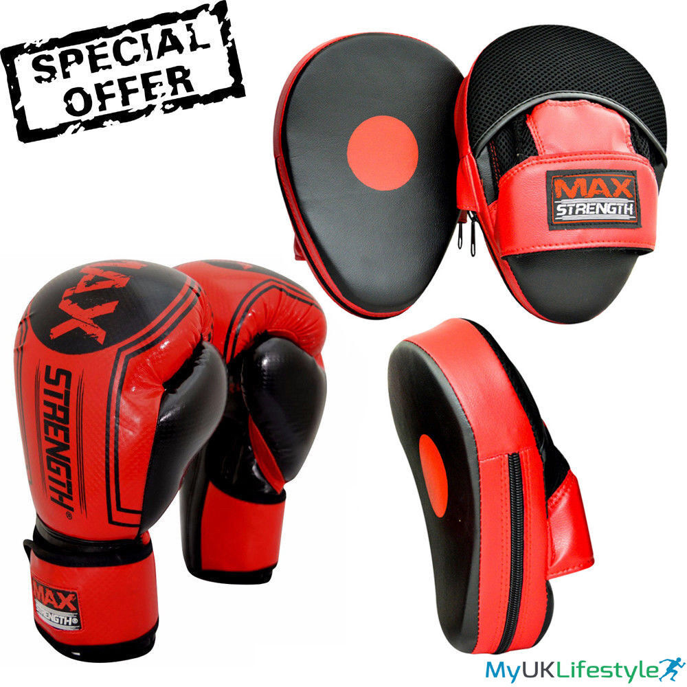 Shiv Naresh Teens Boxing Gloves 12oz: Curved Boxing Focus Pads Hook And Jab Punch Fight Training