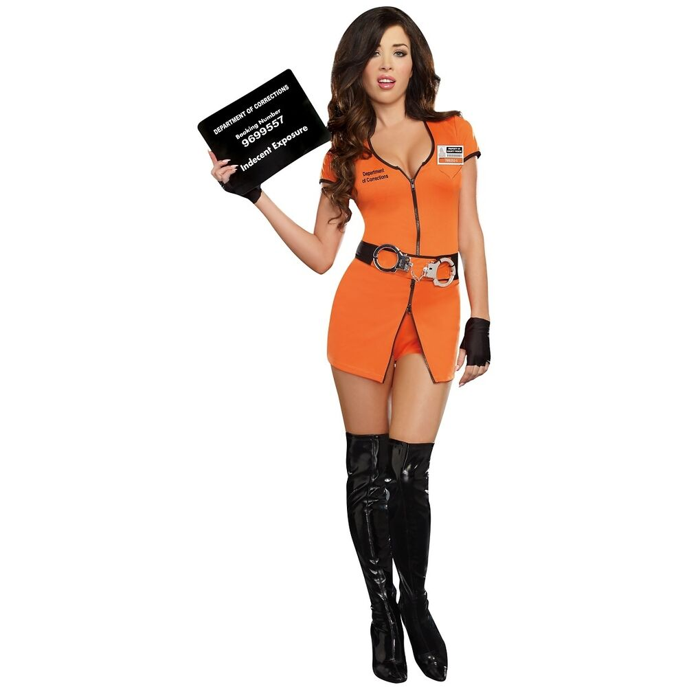 Prisoner Costume Sexy Convict Outfit Halloween Fancy Dress ...