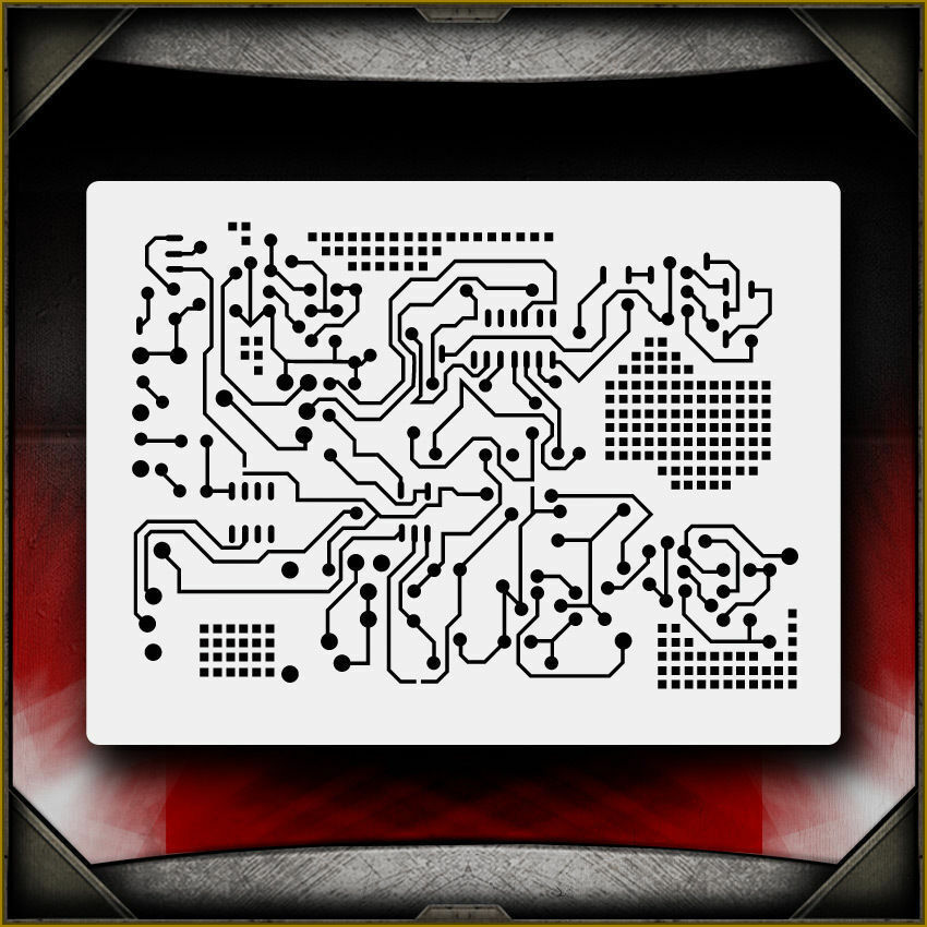 Details About Circuit Board 2 Airbrush Stencil Template Airsick