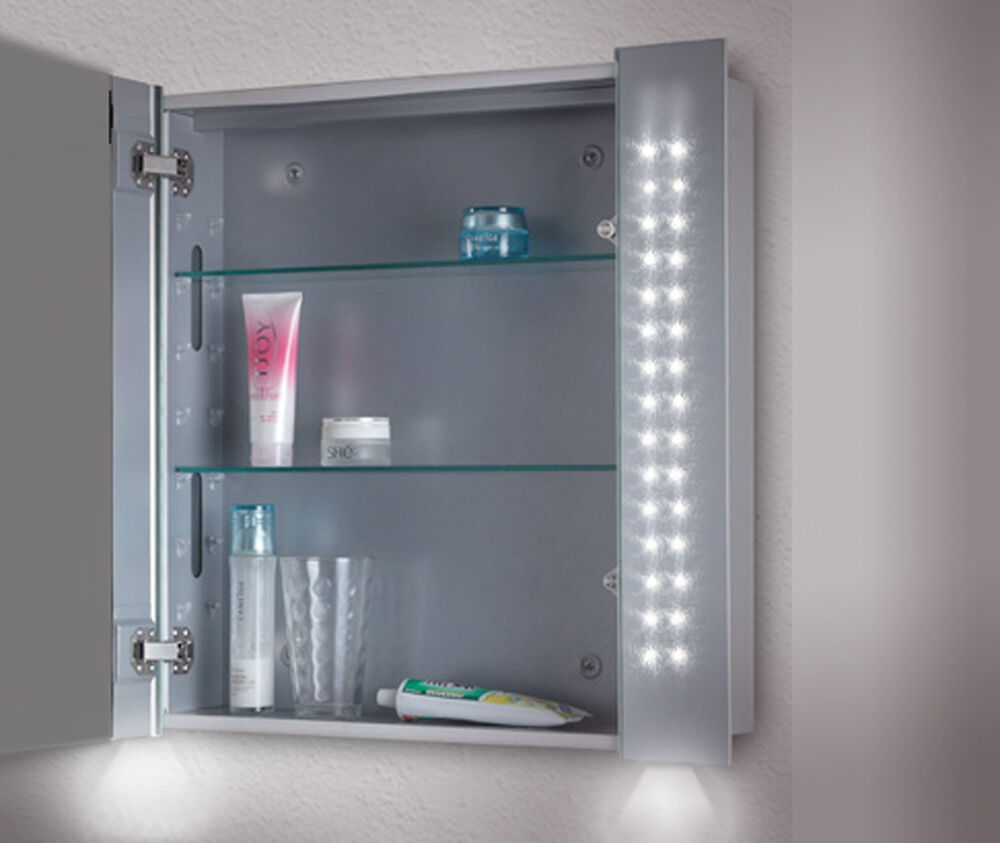 Led illuminated bathroom mirror cabinet shaver bottom for Bathroom cabinets led