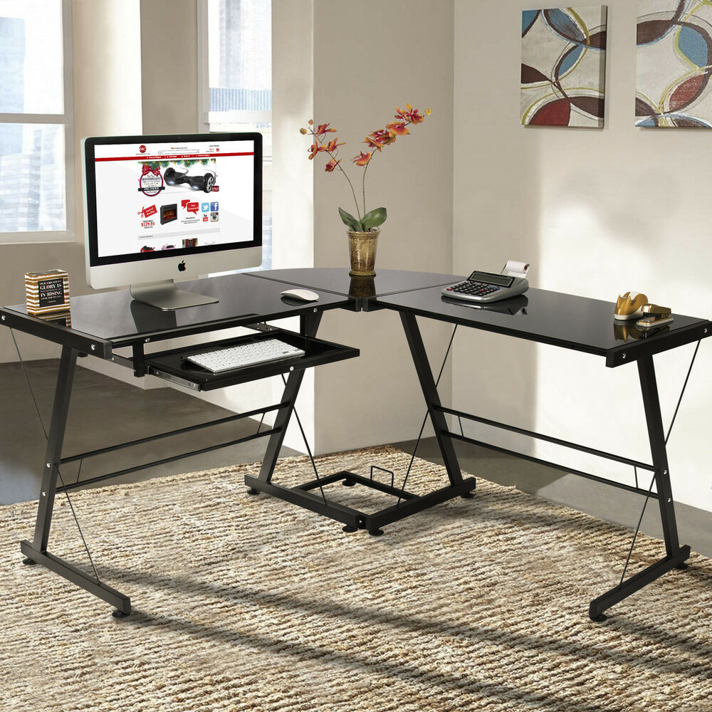 desk pc glass laptop table workstation corner home office black ebay