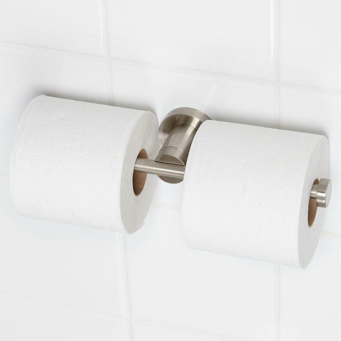 Aylett Collection Euro Double Toilet Paper Holder Brushed Nickel Ebay