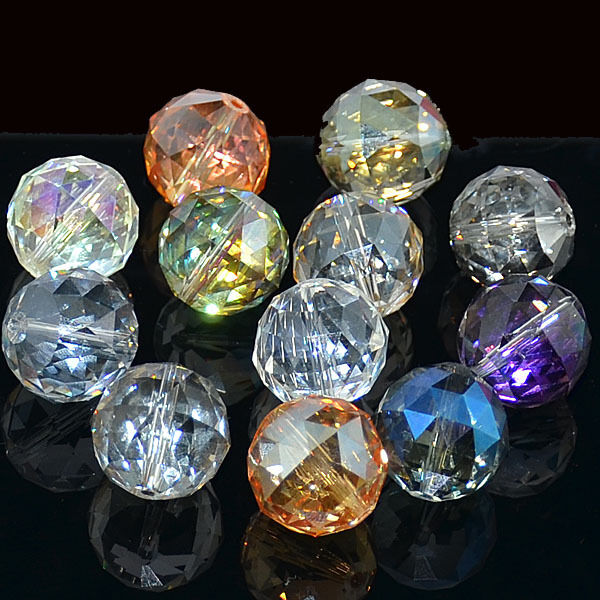 20mm Bead Beads: 16mm 20mm Faceted Multi-Color Quartz Crystal Round Beads