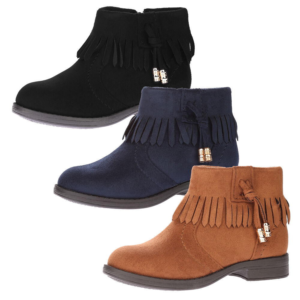 boots childrens ankle fringed tassel cowboy