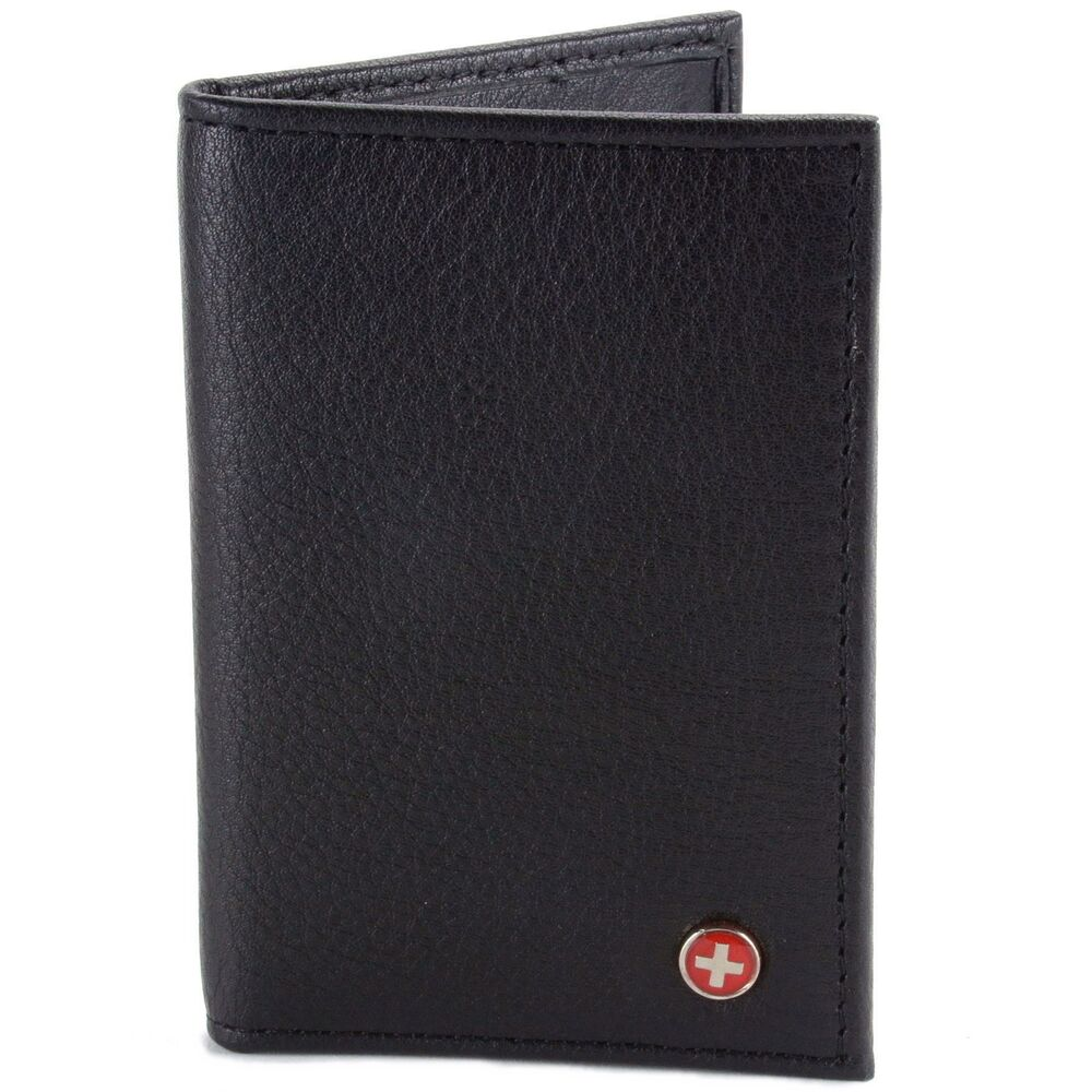 Leather Card Case Front Pocket Wallet Id Window Slim Thin