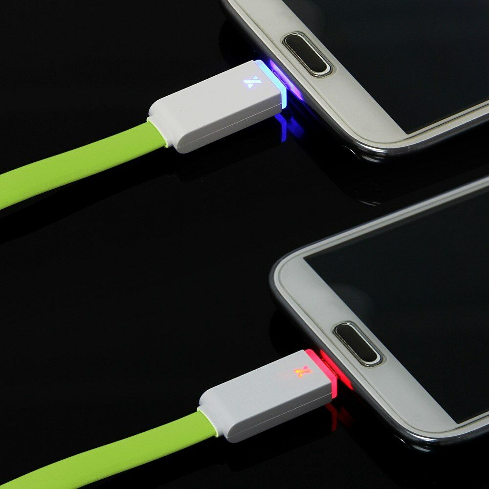 Smart Phone Cable : M led light flat micro usb charger cable data sync cord