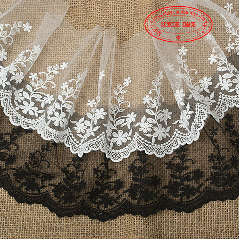 15cm1yard Embroidered Tulle Lace Trim Ribbon For Dress Veil Sewing Crafts FL35 | EBay