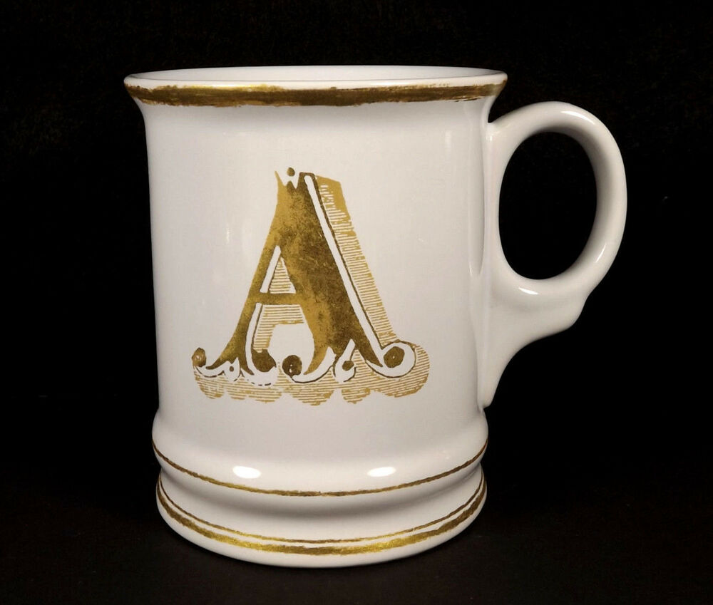 Williams sonoma christmas mug gold a initial letter for Monogram letters for cups