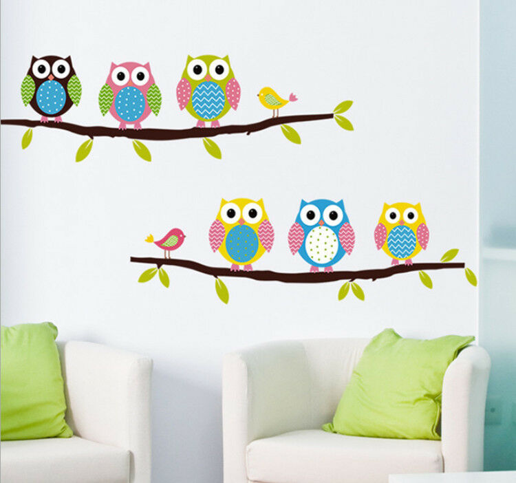 removable tree owl wall decals kids bedroom baby nursery