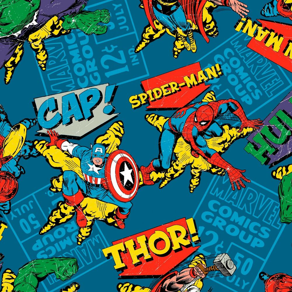 """1 Yard Marvel Avengers """"Character Group Toss"""" Fabric"""