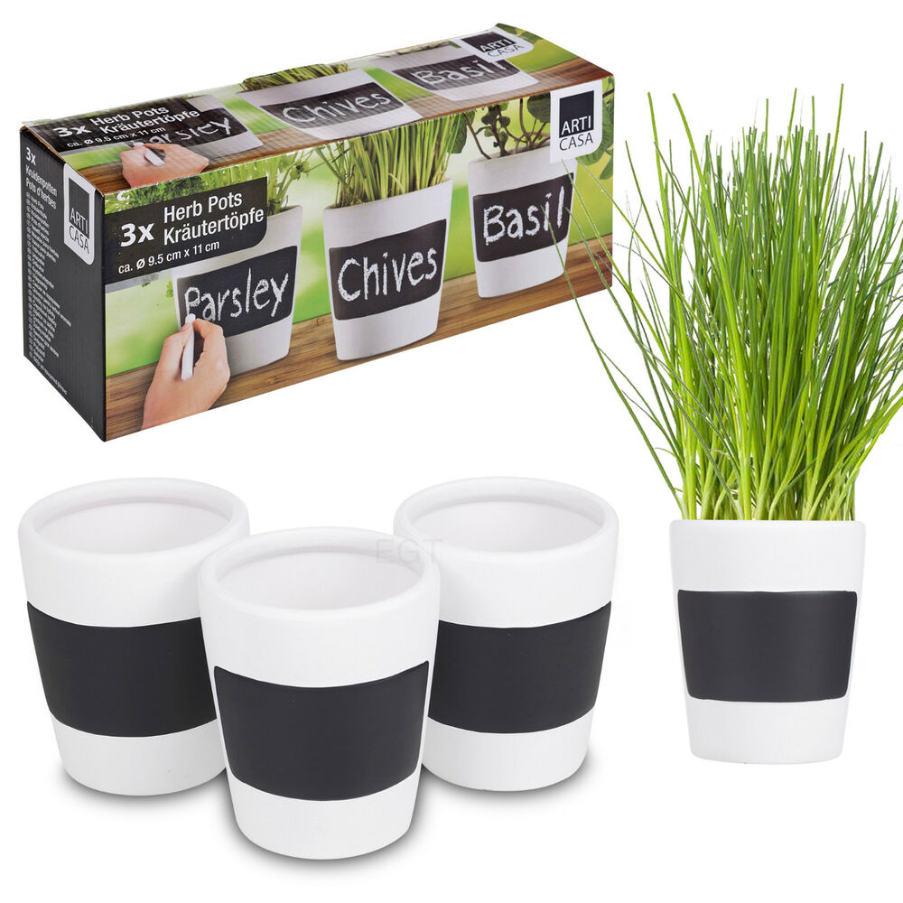 Kitchen Herb Garden Planter 3 X Ceramic Herb Plant Pots Chalk Board Home Kitchen Garden