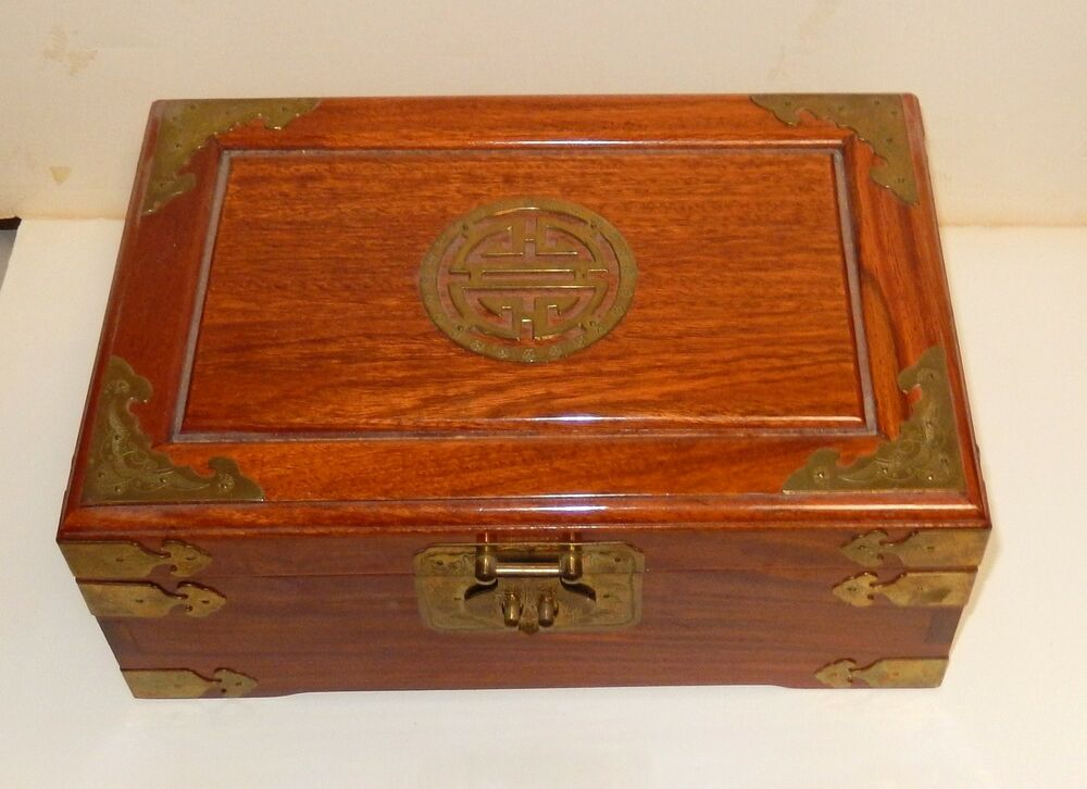 vintage chinese wooden jewelry chest box ebay. Black Bedroom Furniture Sets. Home Design Ideas