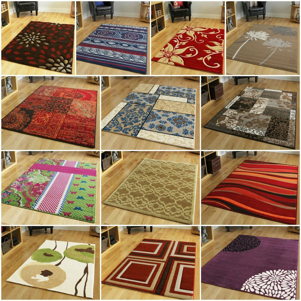 SMALL MEDIUM LARGE MODERN RUGS EASY CLEAN RED BLUE PURPLE ...