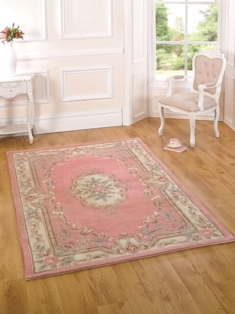 New French Shabby Chic Light Pink Floral Rugs 100 Wool