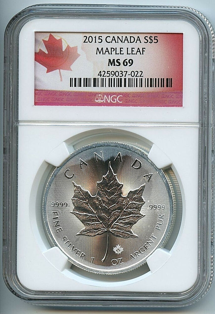 2015 Canadian Maple Leaf 5 Silver Dollar Ms69 Ngc 9999