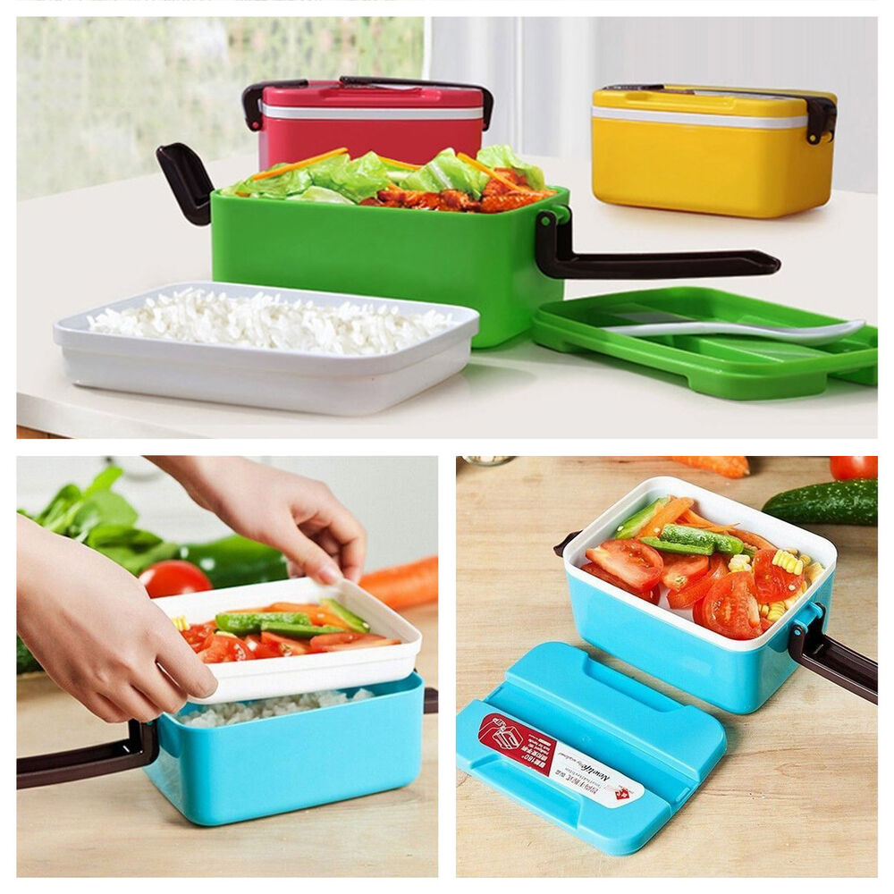 2layer microwave plastic bento lunch box picnic food container storage spoon ebay. Black Bedroom Furniture Sets. Home Design Ideas