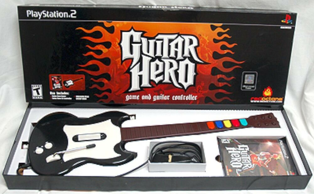 rare original guitar hero 1 ps2 game bundle w black wired gibson sg kit set yo ebay. Black Bedroom Furniture Sets. Home Design Ideas