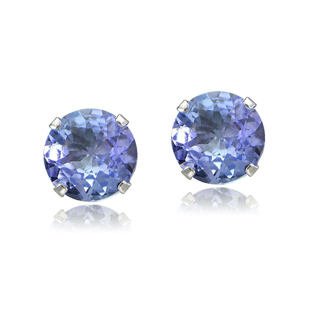 1 00ct Tgw Tanzanite Round 14k White Gold Stud Earrings Ebay