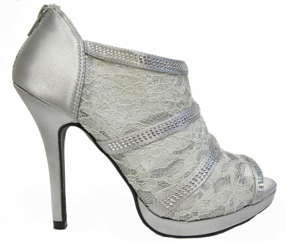 Silver Platform Lace Rhinestone Open Toe High Heels Sandals Booties Shoes 10