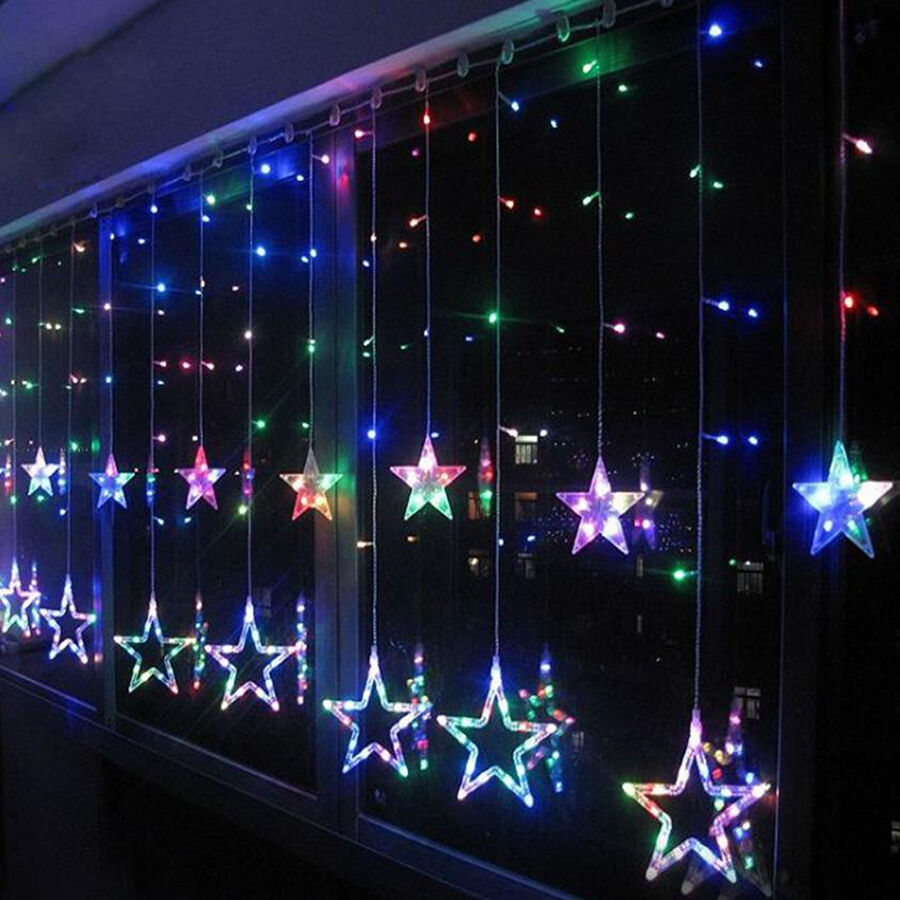 bunt led lichterkette stern vorhang fenster baum weihnachtsdeko flash leuchte ebay. Black Bedroom Furniture Sets. Home Design Ideas