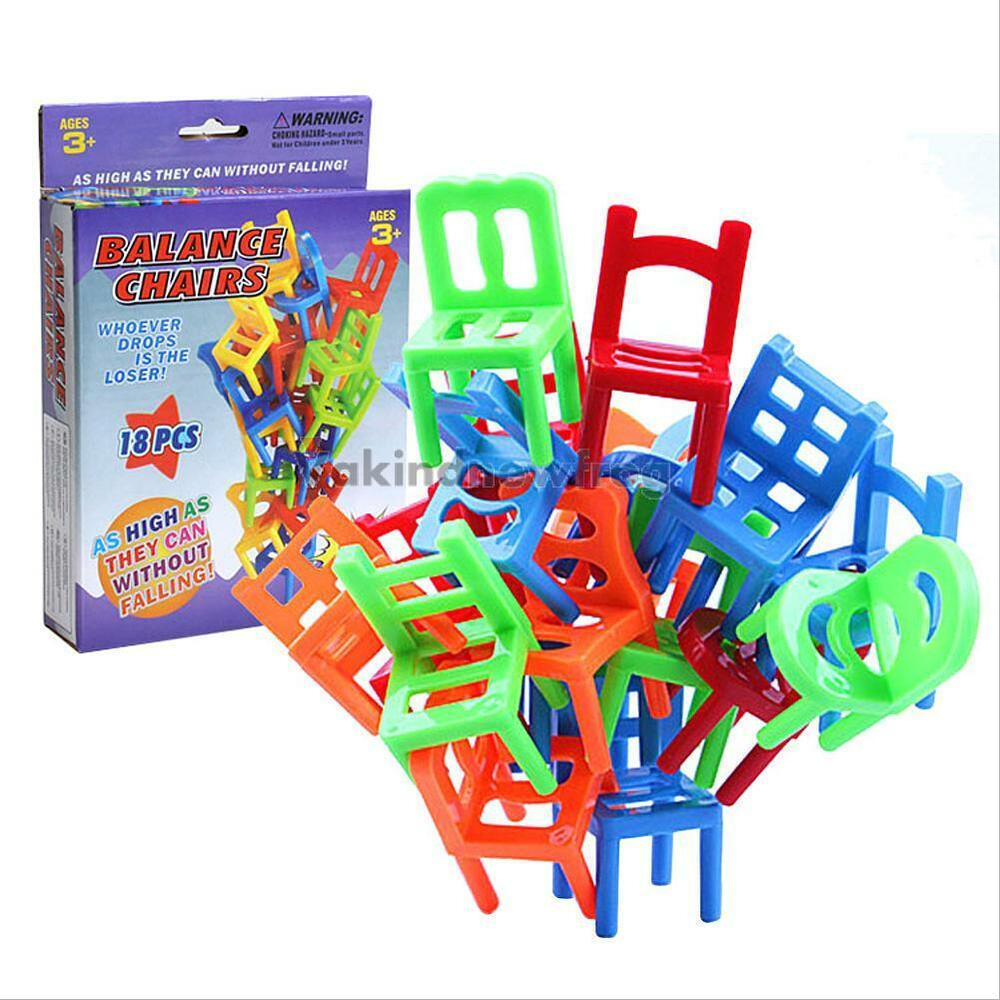 18pcs chair stack game stacking chair balance puzzle gift kids educational toy ebay. Black Bedroom Furniture Sets. Home Design Ideas