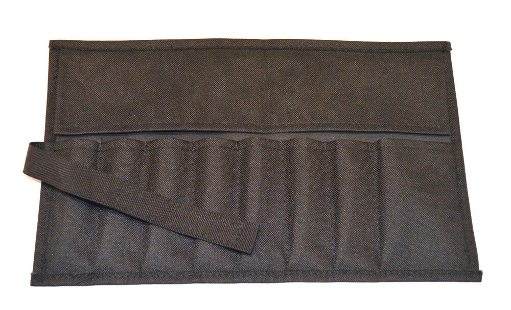 canvas roll up tool pouch 8 pockets black for tool sets ebay. Black Bedroom Furniture Sets. Home Design Ideas