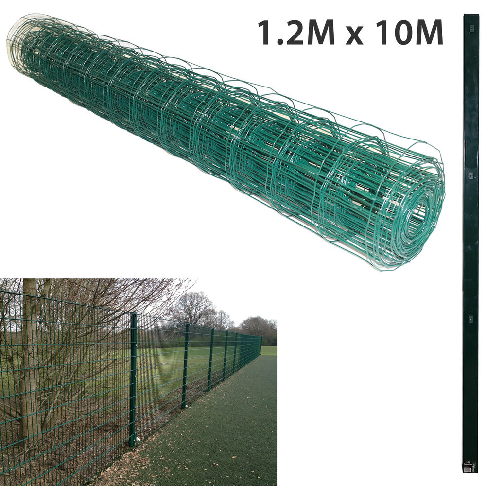 1 2m x 10m pvc coated green mesh chicken rabbit wire fence fencing 1 5m posts ebay. Black Bedroom Furniture Sets. Home Design Ideas