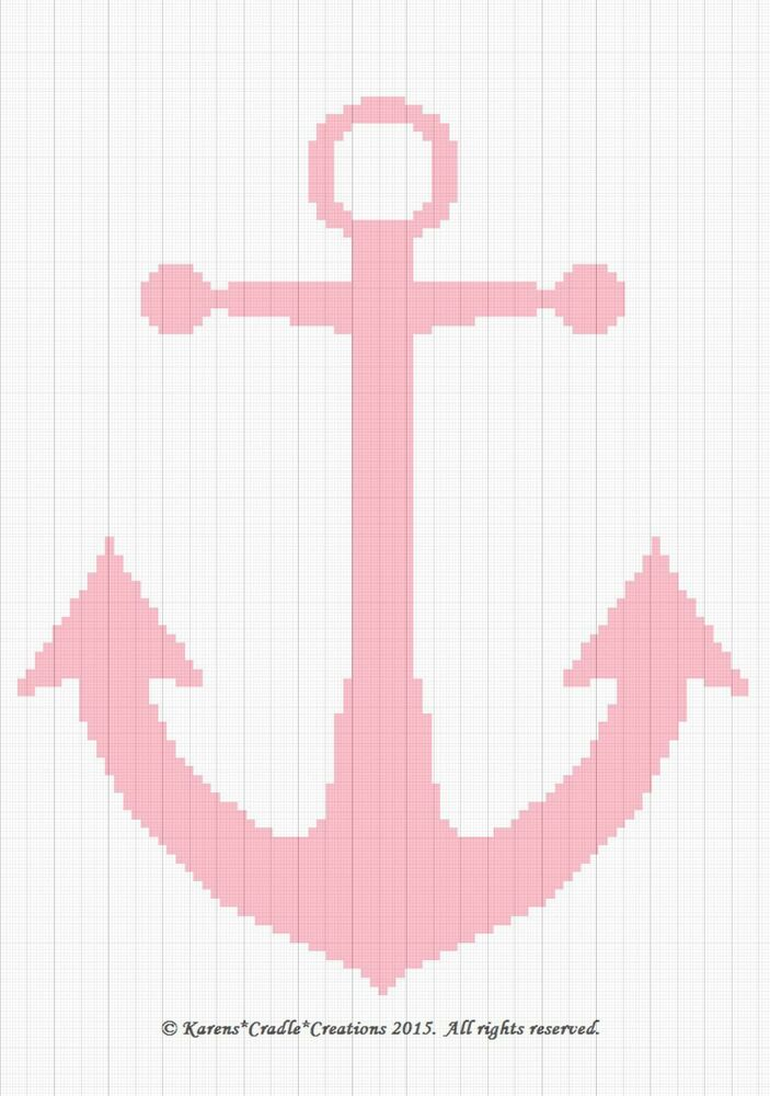Crochet Patterns Anchor Baby Girl Nautical Graphchart Afghan