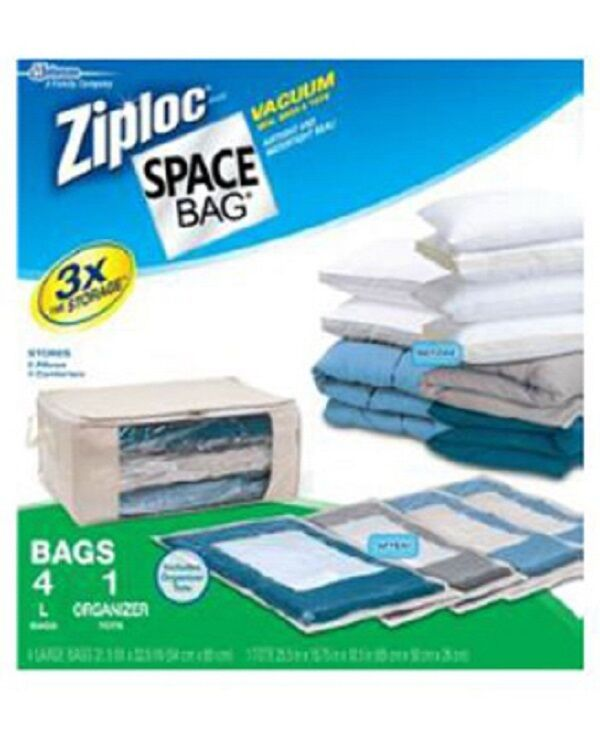 4 Sets Ziploc 70311 5 Piece Space Bag Storage Organizer