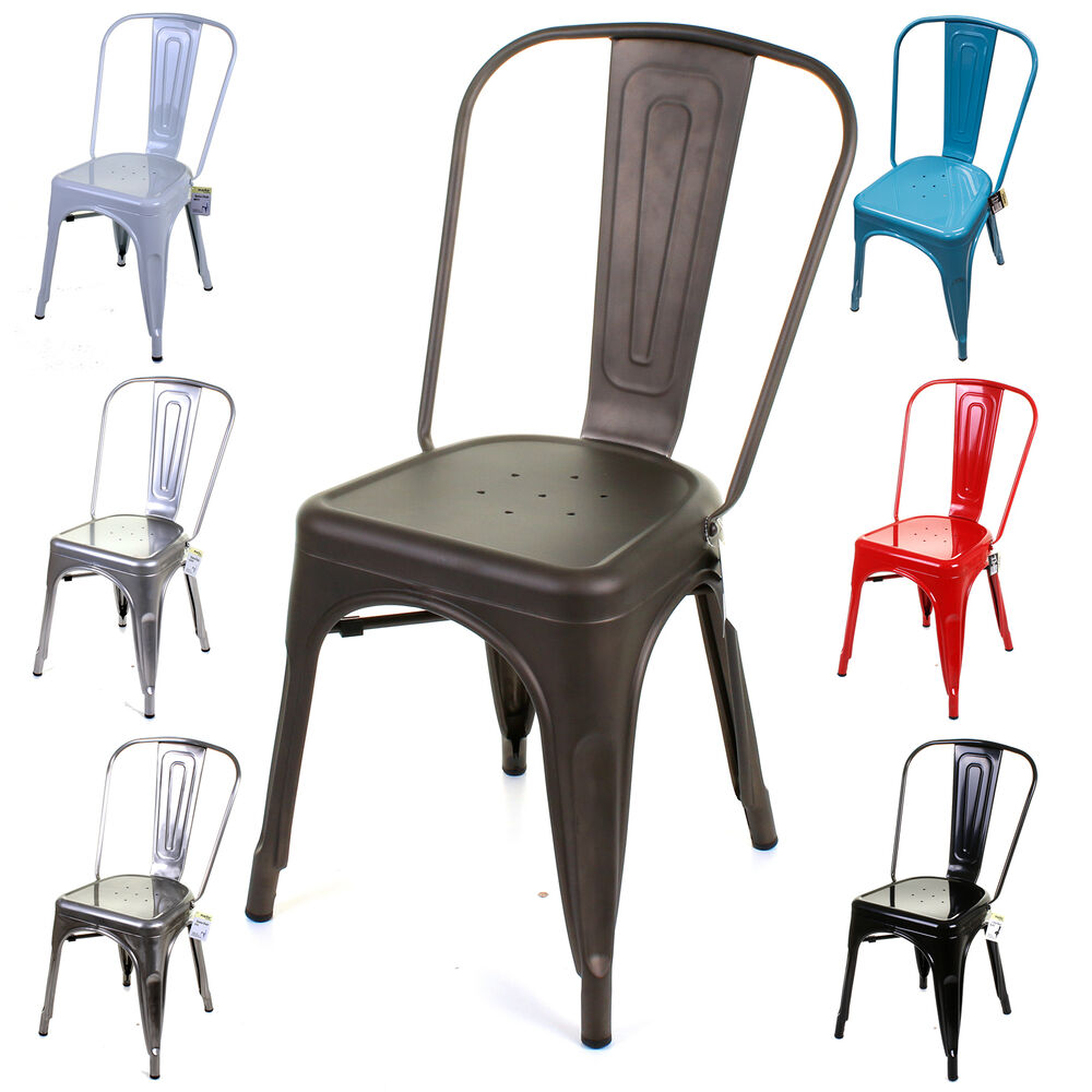 Metal dining chair stackable industrial vintage style seat for Industrial style kitchen chairs
