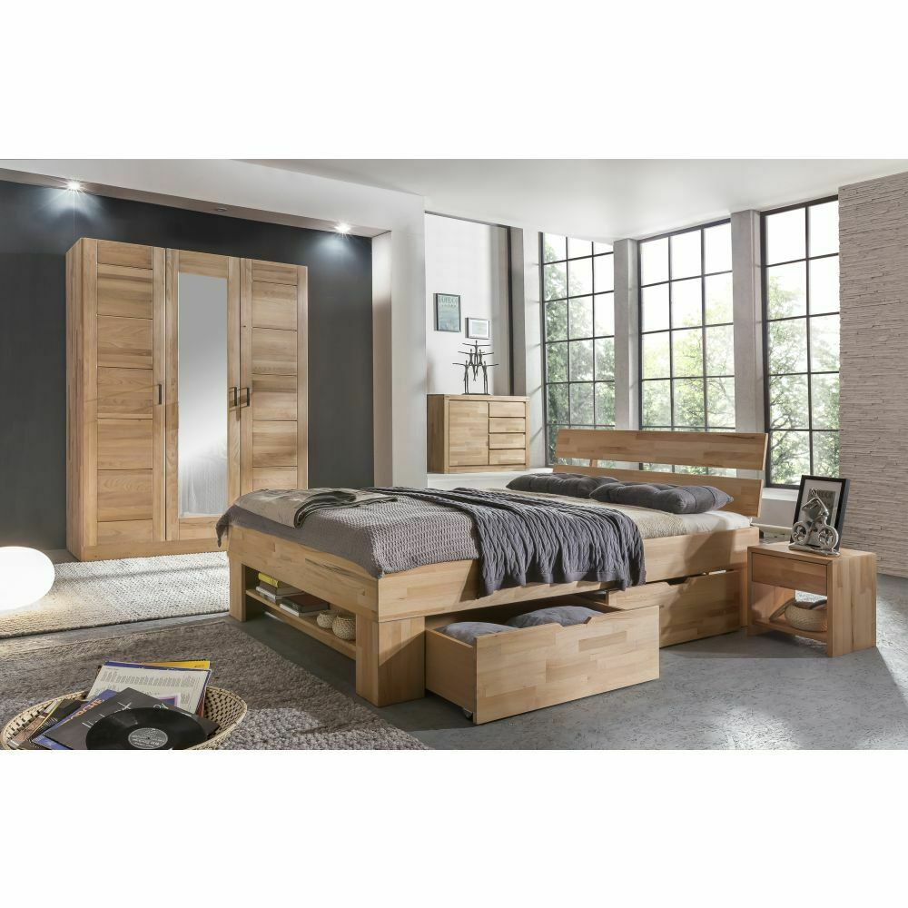 moderner kleiderschrank tollow kernbuche massiv 3trg mit spiegel neu ebay. Black Bedroom Furniture Sets. Home Design Ideas