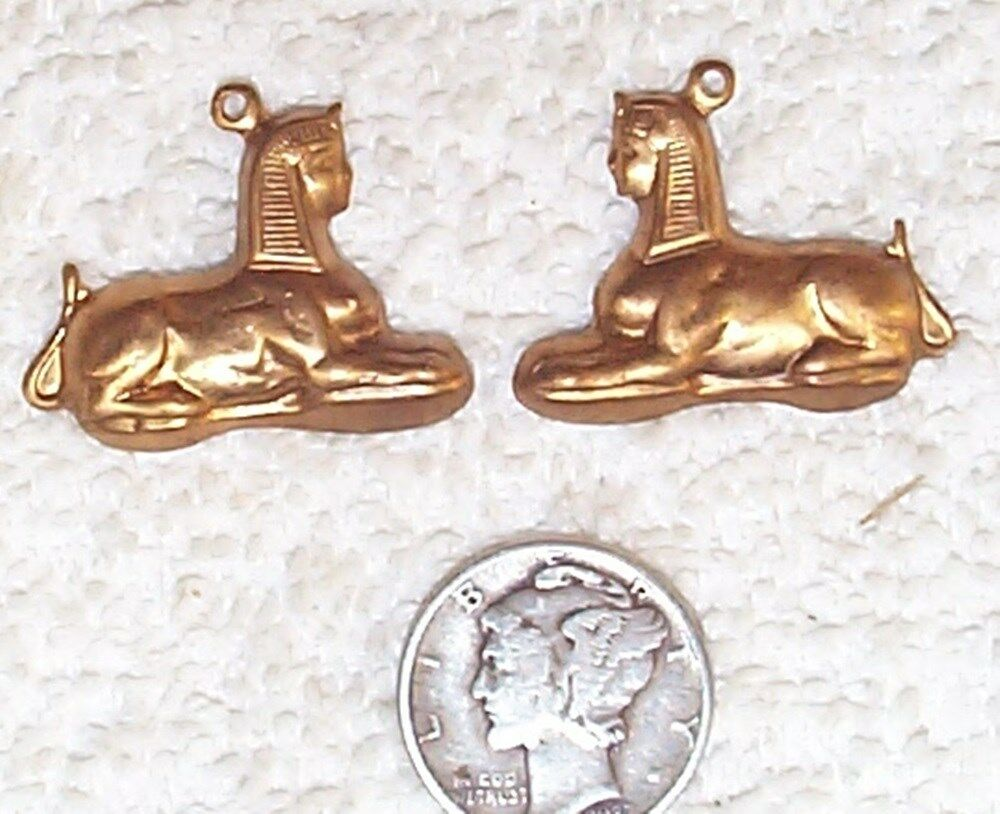 VINTAGE EGYPTIAN SPHINX BRASS CHARMS STAMPINGS WITH RING 10 PIECES ...