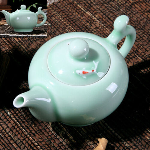 Longquan celadon tea set tea pot fish design pot set green Green tea pot set