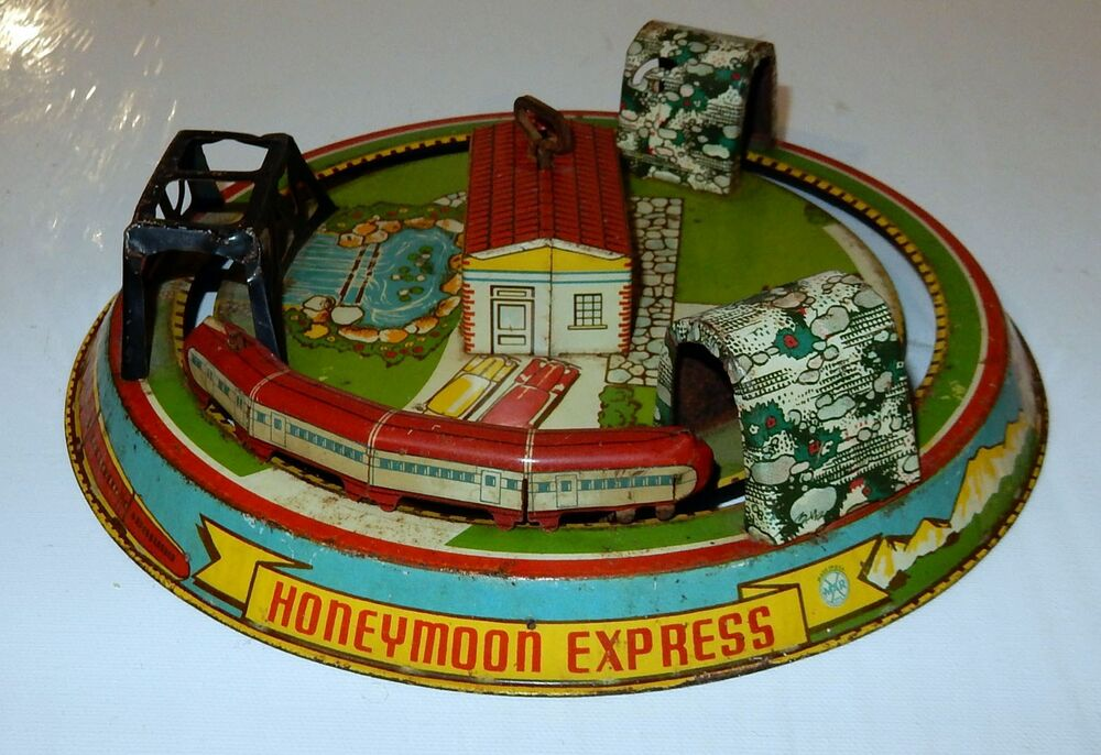 Toys For The Honeymoon : Vintage marx tin litho honeymoon express windup toy train