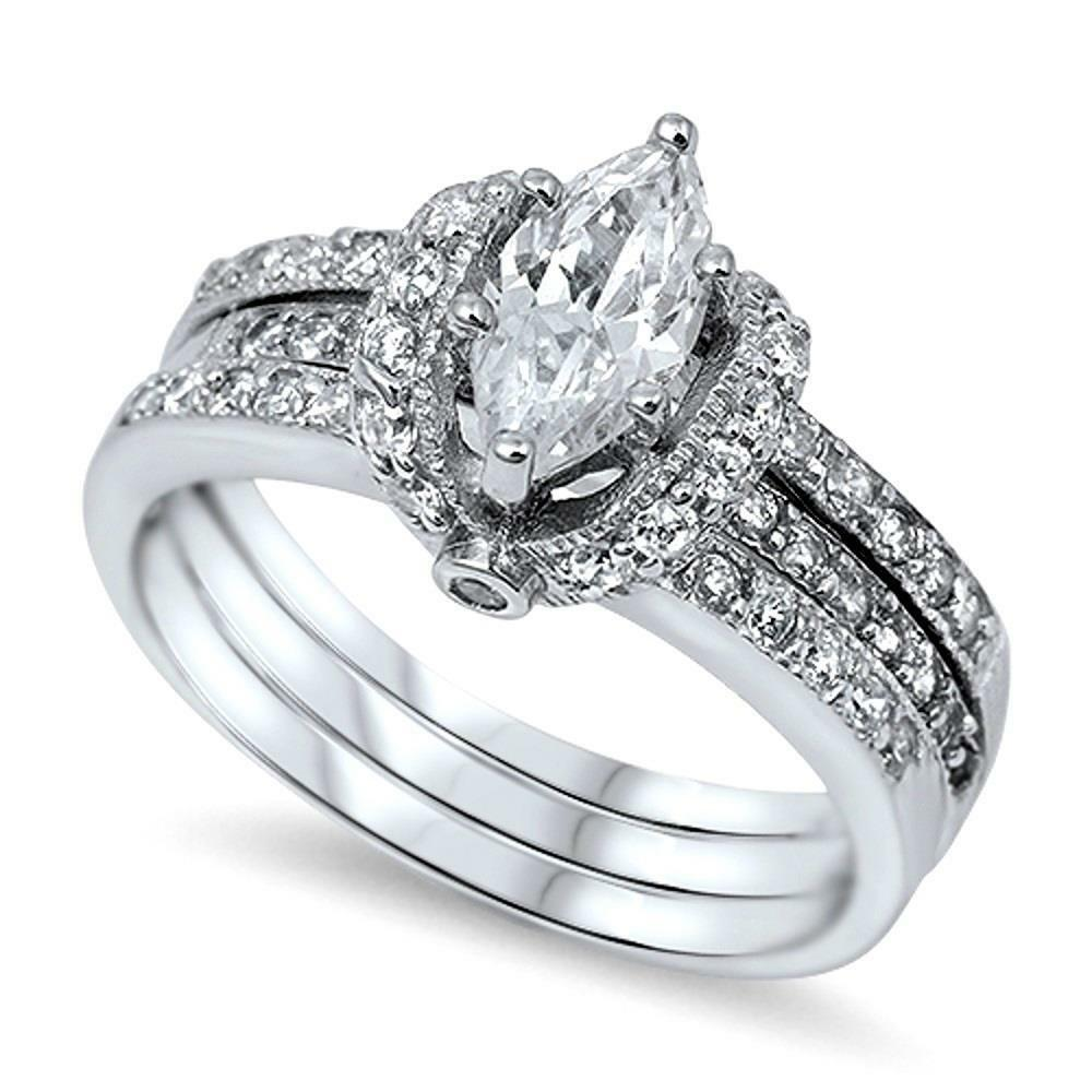 Sterling Silver Womens Pave CZ Wrapped Marquise Cut Wedding Ring Set