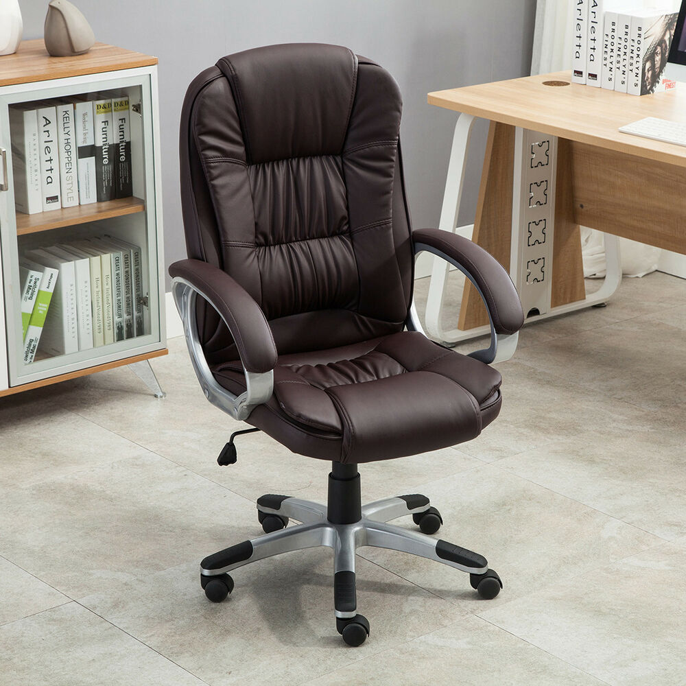 Executive High Back PU Leather Computer Desk Ergonomic Task Office