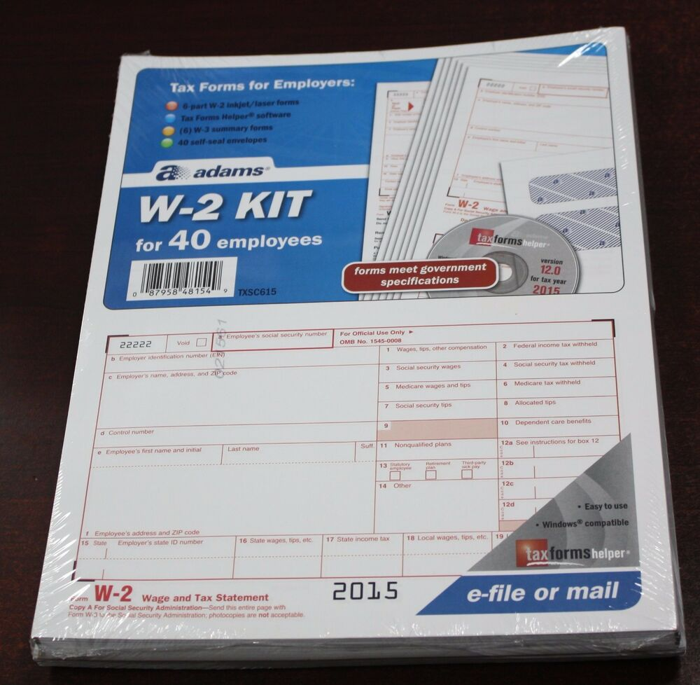 2015 40 EMPLOYEE ADAMS W-2 W2 KIT 6-PART IRS TAX FORMS