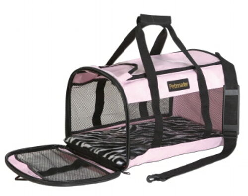 Petmate Soft Sided Kennel Cab Large Pink Zebra 20x11 5x12