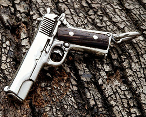 Gun Wood 925 Solid Sterling Silver Mens Pendant Charm For