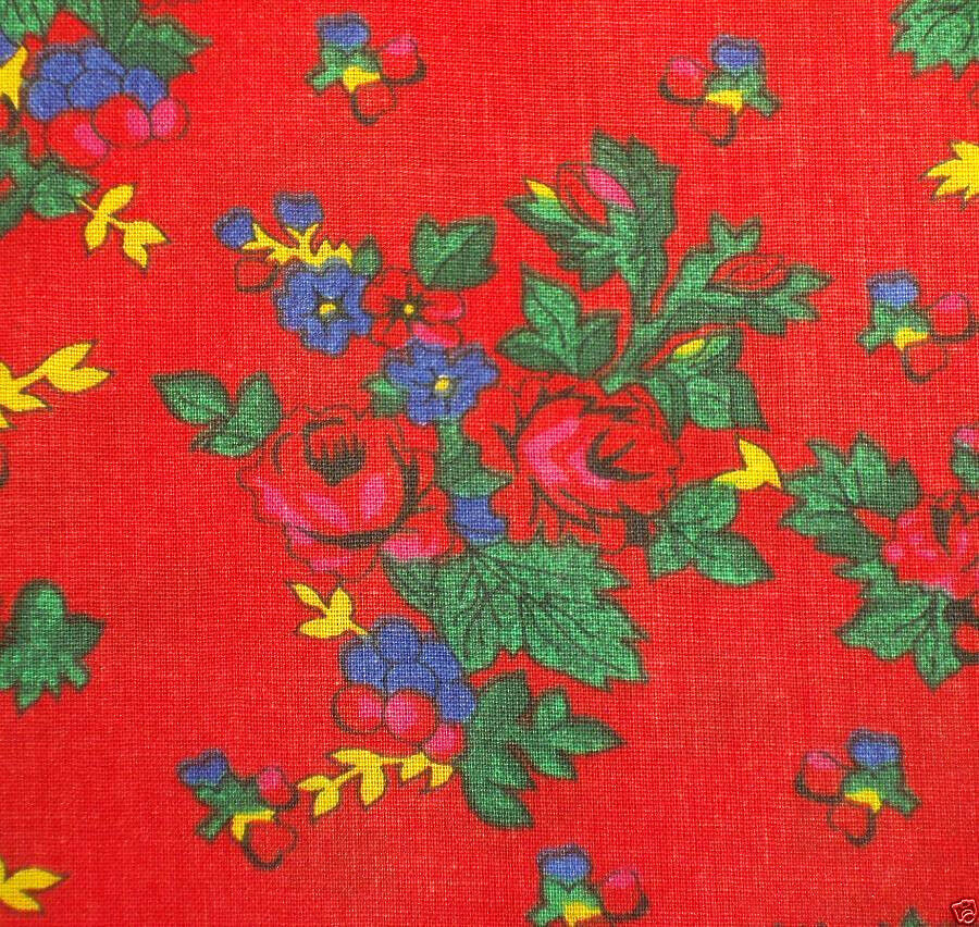 Folk Costume Fabric 100 Cotton Red Floral Print New Skirt