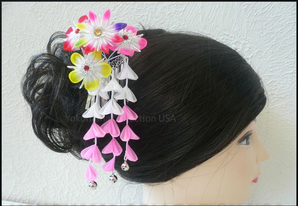 Japanese Tsumami Kanzashi Hair Ornament W Bells Flowers
