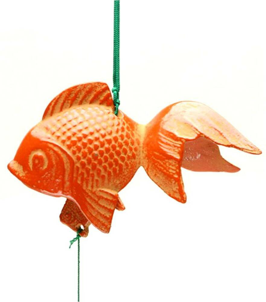 Japanese kingyo gold fish furin wind chimes cast iron made for Iron in fish