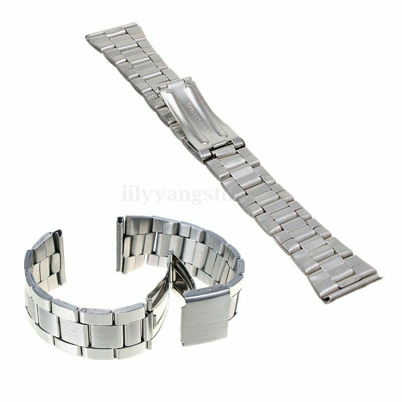 Silver Band Bracelet: Silver Stainless Steel Watch Band Strap Straight End