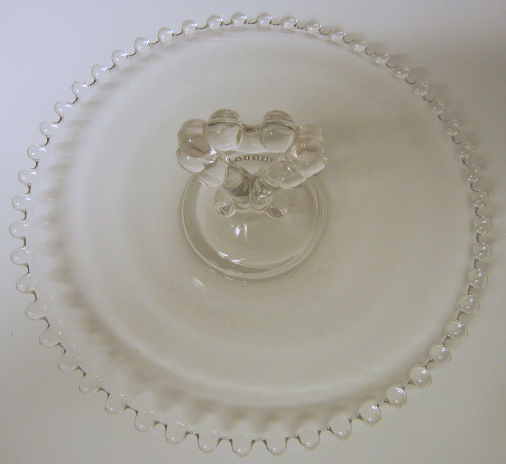 Elegant Vintage Imperial Glass Candlewick Birthday Cake