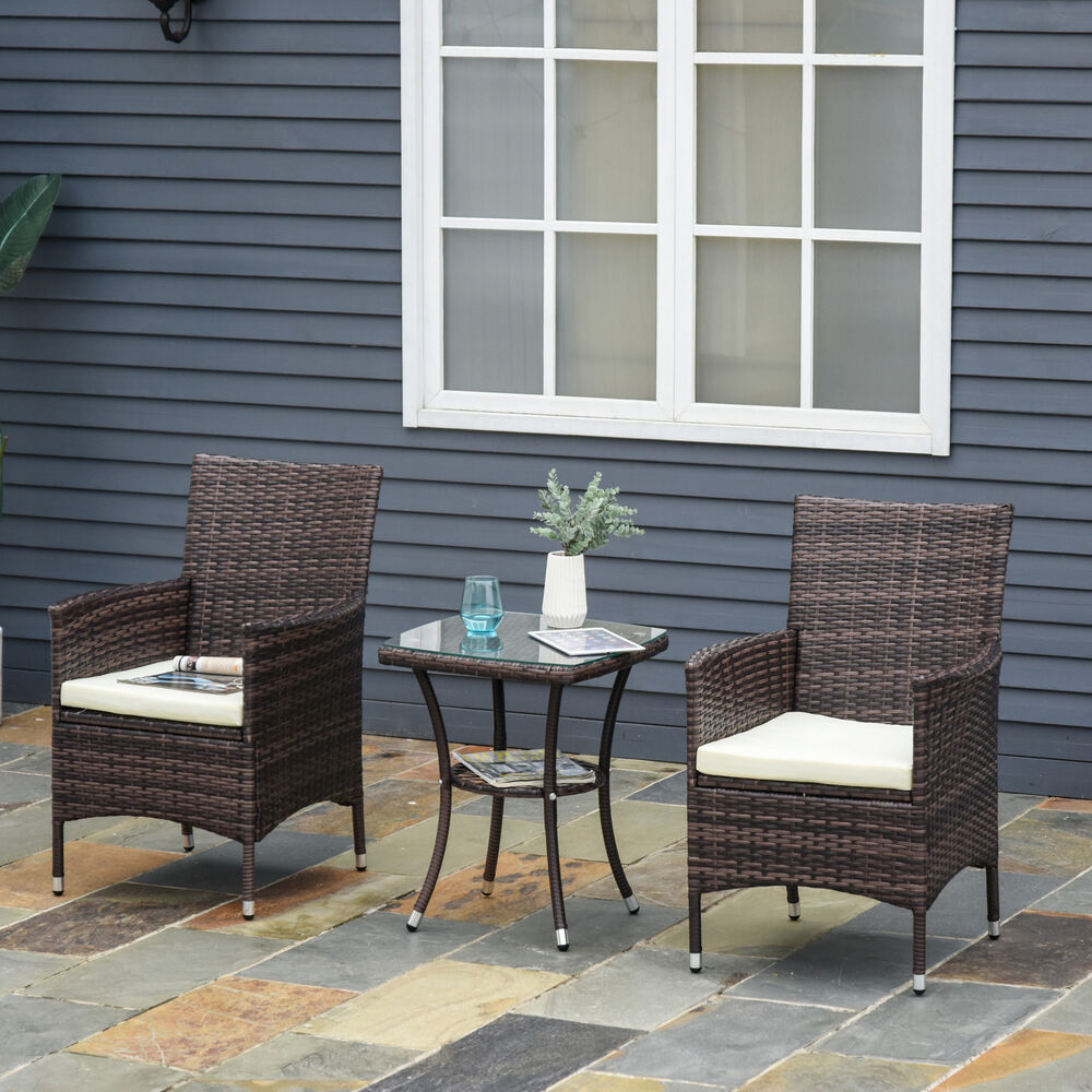 Garden Chair And Table Set On Ebay: Rattan Furniture Bistro Set Garden Table Chair Patio
